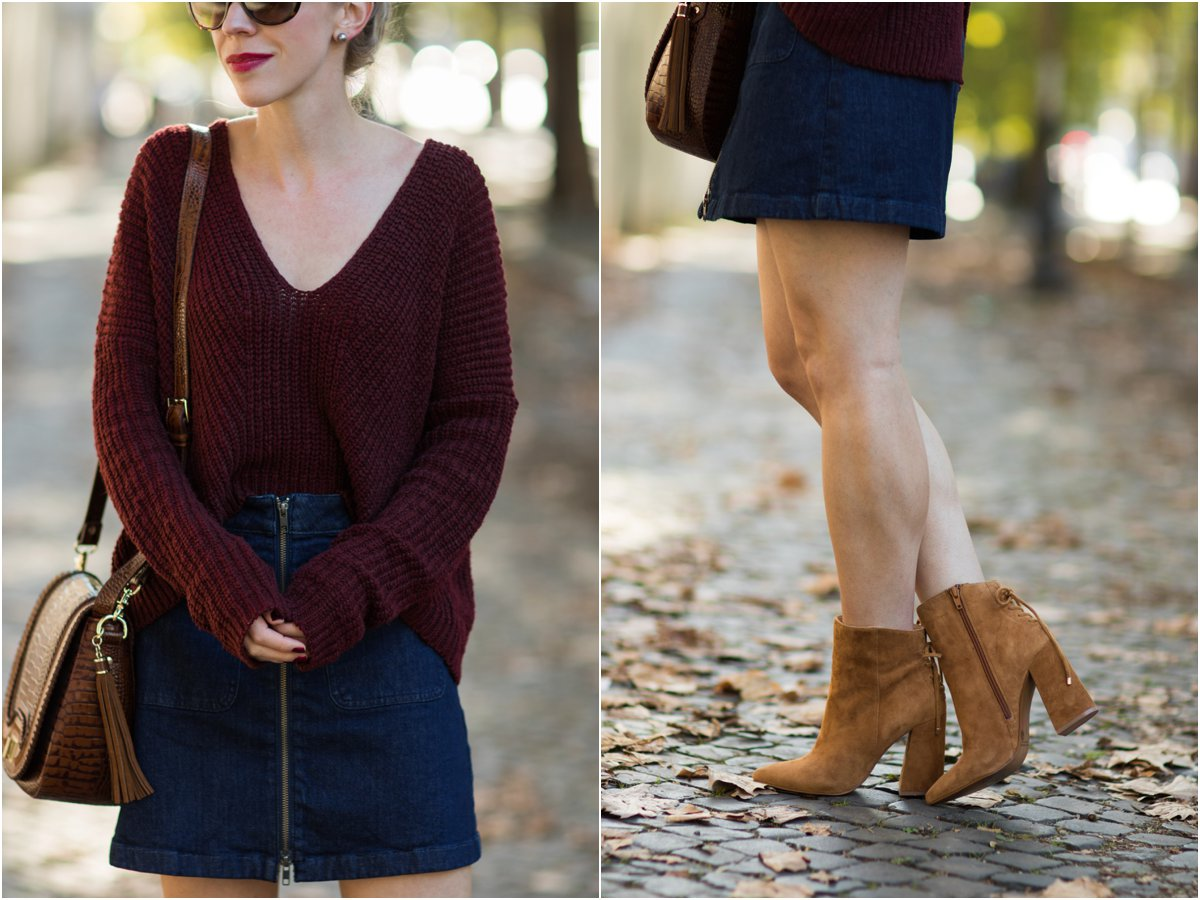 express-burgundy-sweater-madewell-zip-front-denim-mini-skirt-kristin-cavallari-siren-suede-block-heel-booties