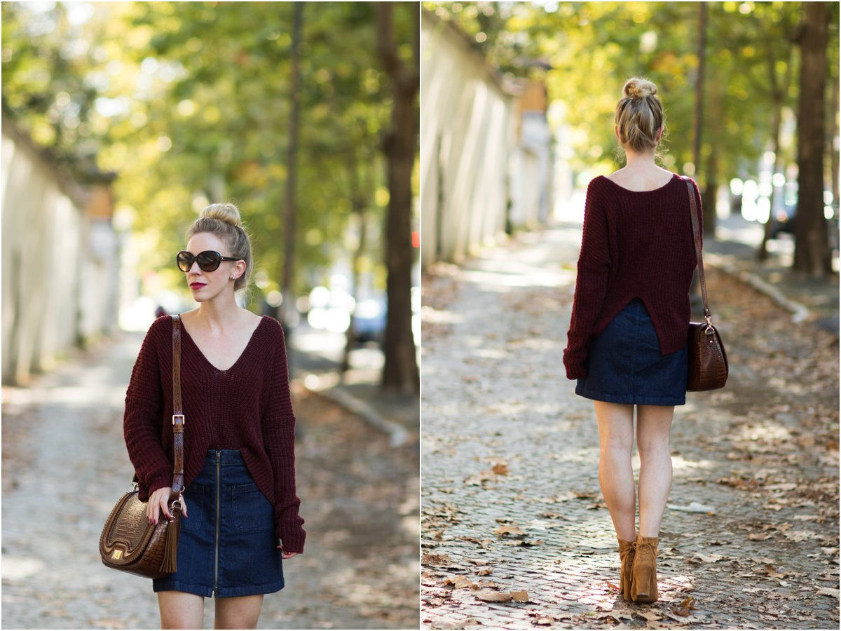 express-split-back-denim-sweater-with-denim-mini-skirt-denim-mini-skirt-with-suede-booties-fall-outfit-oversized-sweater-with-denim-mini-skirt