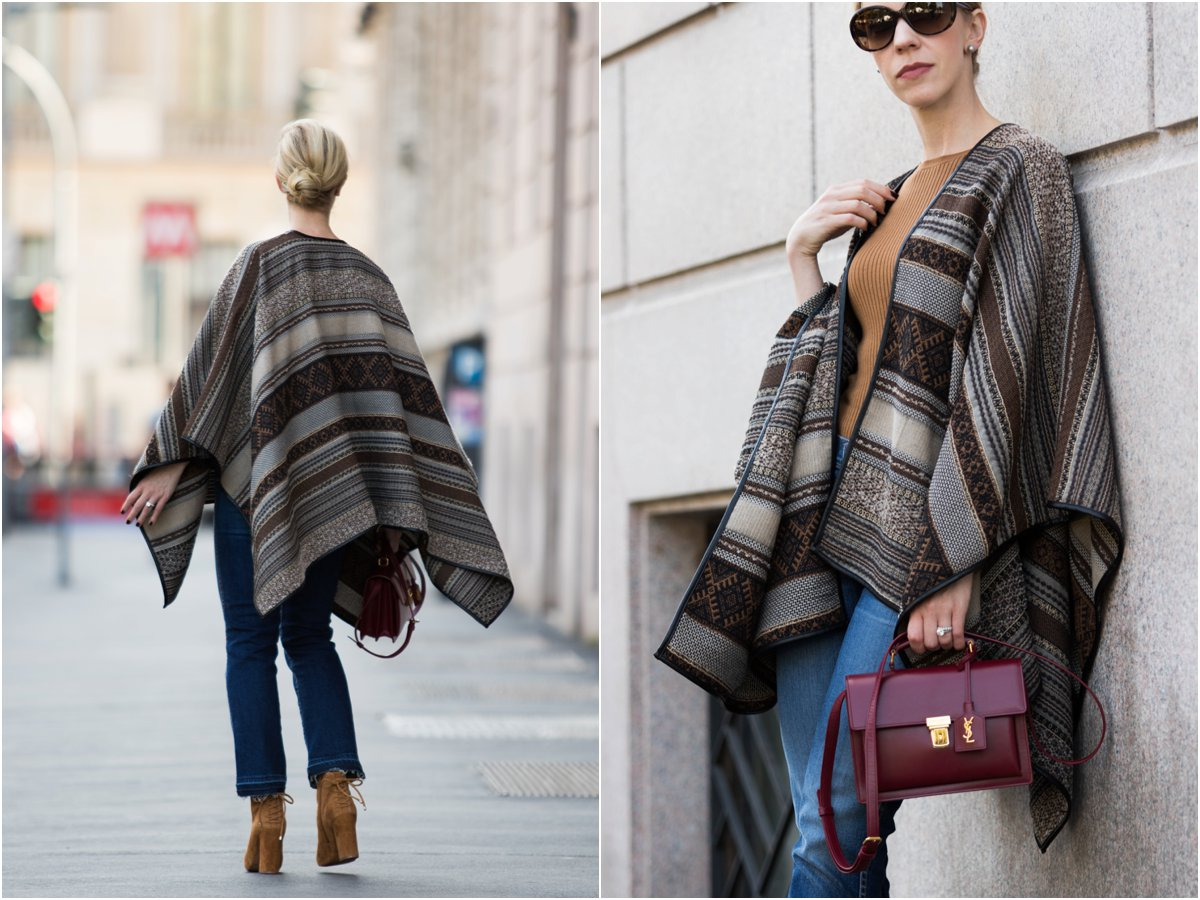la-fee-maraboutee-tribal-print-poncho-saint-laurent-high-school-bag-oxblood-poncho-with-crop-flare-jeans-outfit