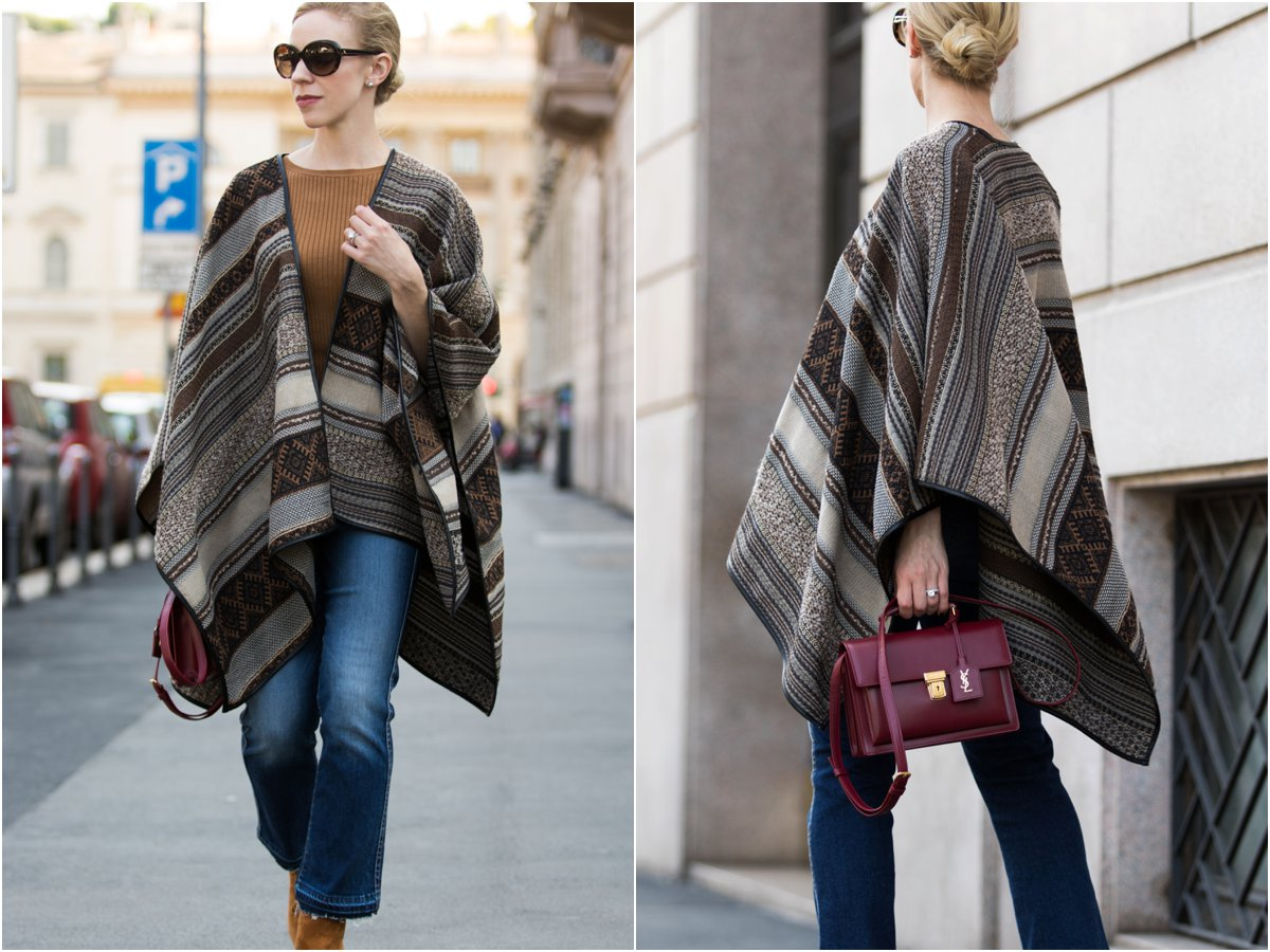 la-fee-maraboutee-tribal-print-poncho-saint-laurent-high-school-satchel-oxblood-how-to-wear-a-poncho-with-cropped-flare-jeans