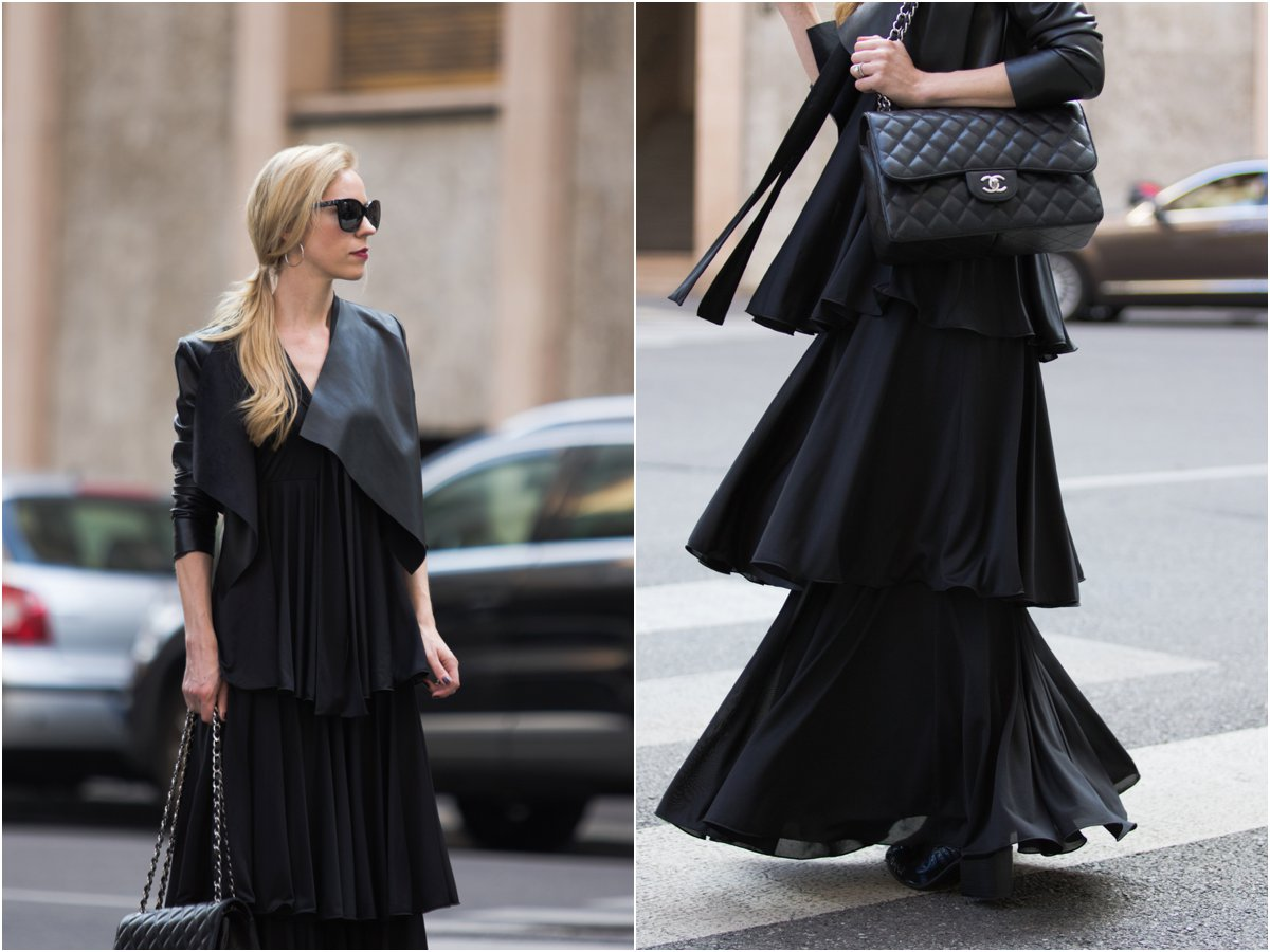max-co-tiered-ruffle-maxi-dress-pinko-cropped-leather-jacket-chanel-jumbo-black-caviar-with-silver-hardware