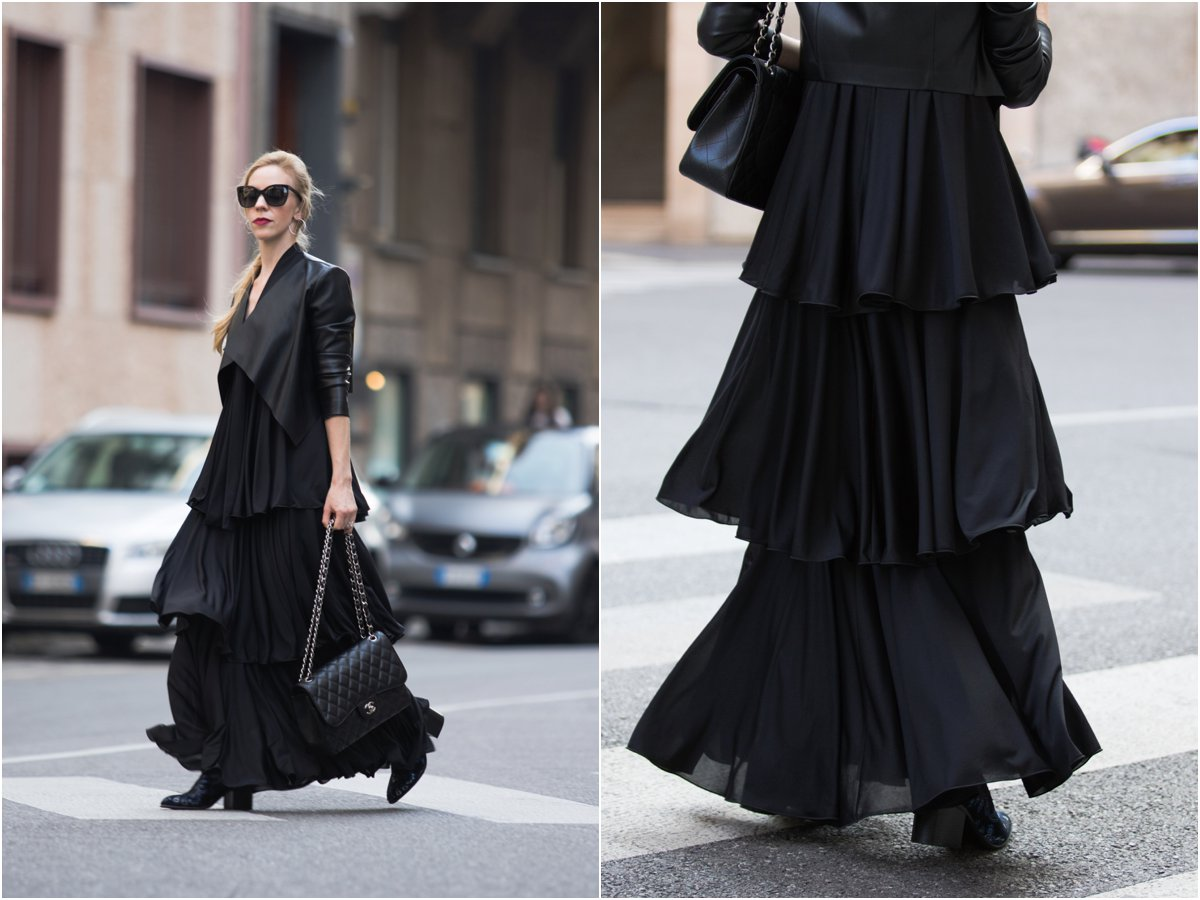 max-co-tiered-ruffle-maxi-dress-leather-jacket-with-maxi-dress-outfit-milan-fashion-week-ss17-blogger-street-style