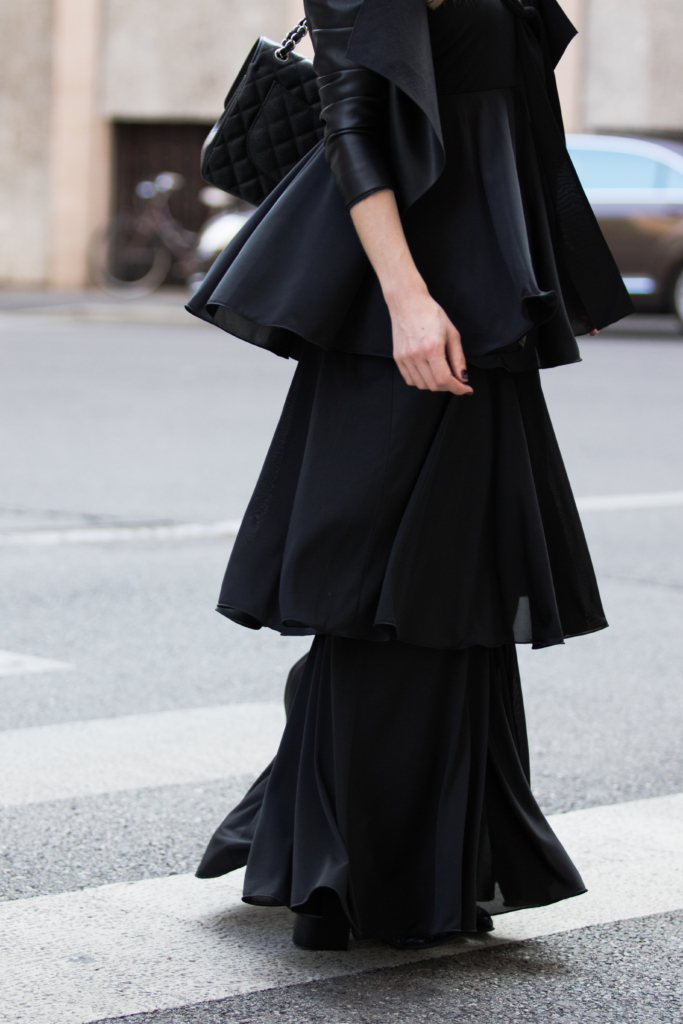 max-co-tiered-ruffle-maxi-dress-maxi-dress-with-leather-jacket-outfit-milan-fashion-week-ss17-street-style