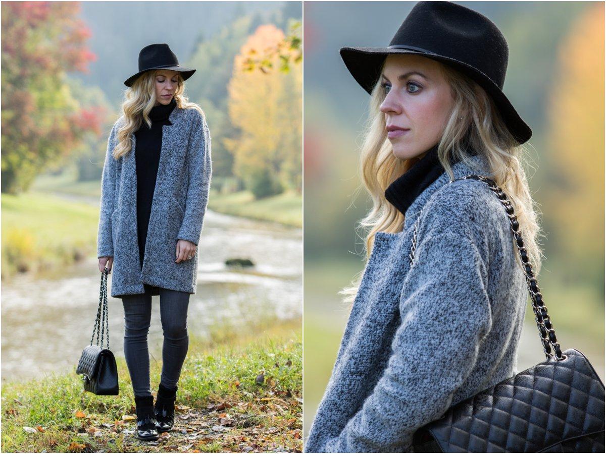 Fall Drive in Germany: Wool fedora, Sweater coat & Fringe booties }