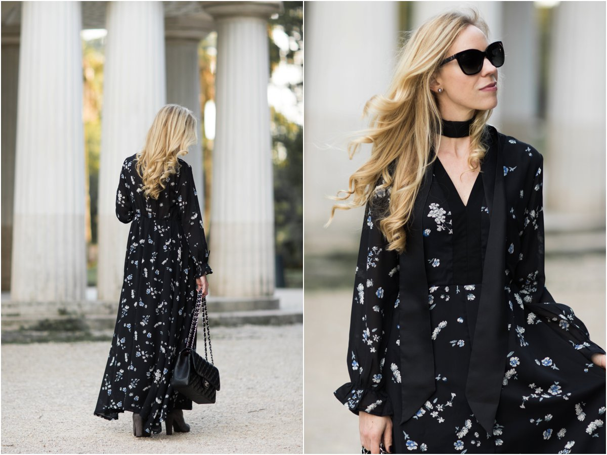 black-floral-dress-with-skinny-scarf-outfit-how-to-tie-a-skinny-scarf-black-skinny-scarf-with-dress-fall-outfit