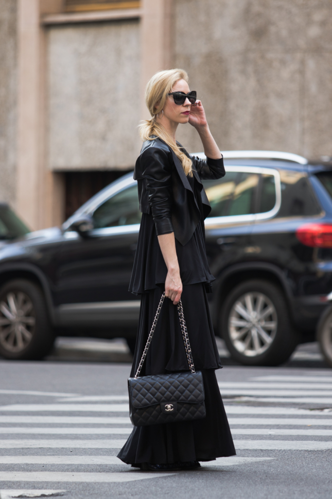 black-leather-jacket-with-maxi-dress-and-chanel-bag-milan-fashion-week-street-style-september-2016