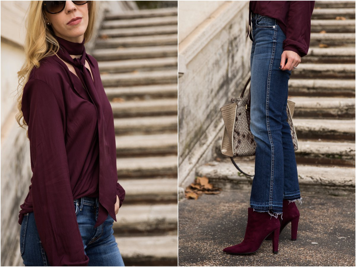 burgundy-top-fall-outfit-how-to-wear-kick-crop-flare-jeans-with-booties-how-to-tie-a-silk-skinny-scarf