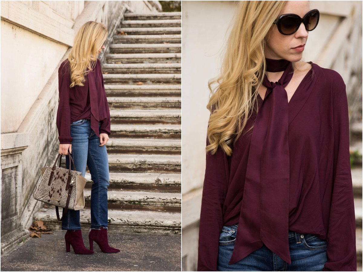 burgundy-top-with-silk-skinny-scarf-crop-flare-jeans-with-booties-burgundy-suede-booties-outfit-how-to-tie-a-skinny-scarf