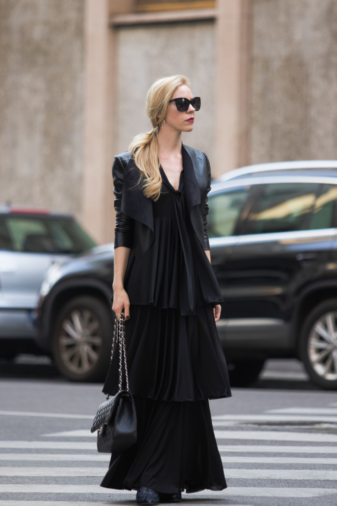 cropped-leather-jacket-with-maxi-dress-max-co-tiered-ruffle-maxi-dress-milan-fashion-week-ss17-street-style