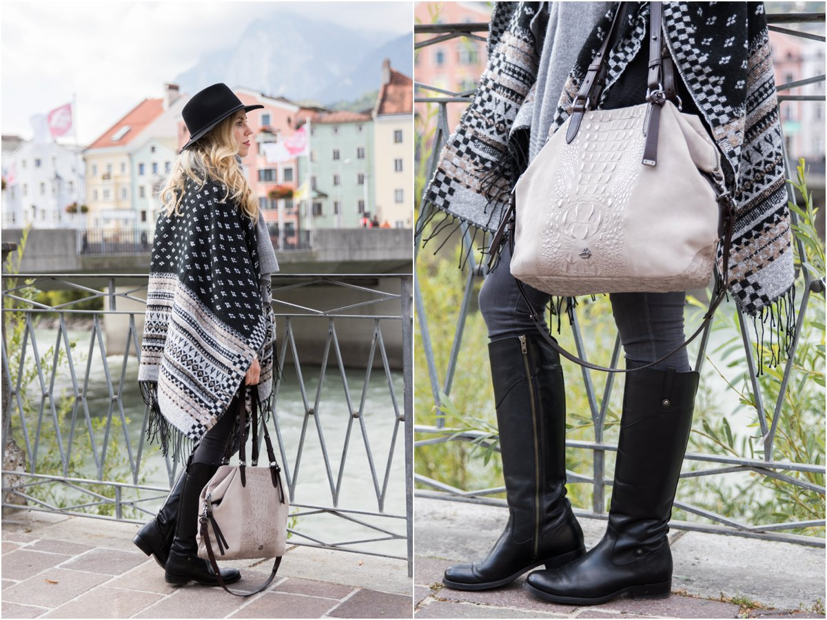 fair-isle-print-poncho-brahmin-delaney-tote-smoke-wilmington-frye-melissa-tall-black-riding-boots