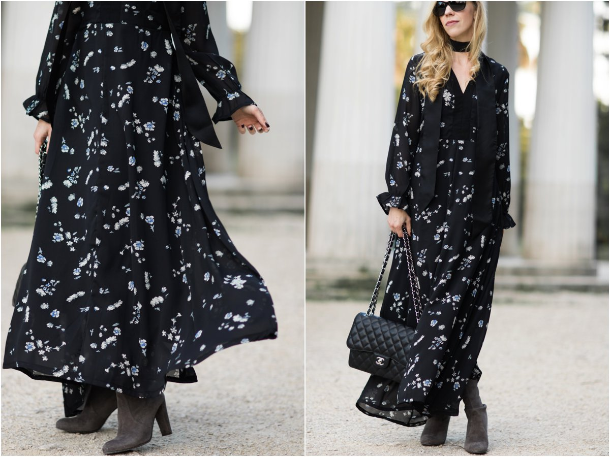floral-maxi-dress-with-black-skinny-scarf-maxi-dress-with-tall-suede-boots-fall-outfit-how-to-wear-a-maxi-dress-with-boots-for-winter