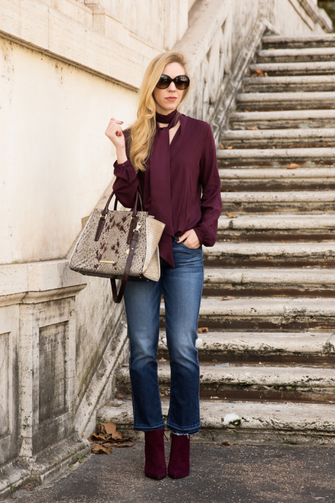how-to-wear-a-silk-skinny-scarf-burgundy-top-fall-outfit-crop-flare-jeans-with-booties-stuart-weitzman-bordeaux-suede-booties