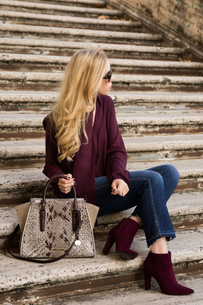 how-to-wear-cropped-jeans-with-booties-stuart-weitzman-hitimes-bordeaux-suede-booties-burgundy-booties-fall-outfit