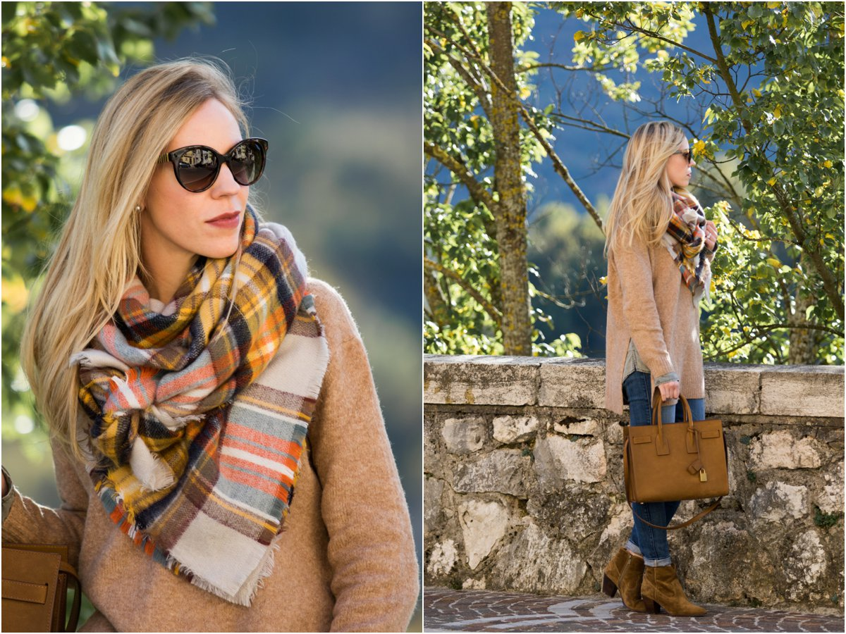 plaid-blanket-scarf-outfit-with-oversized-sweater-and-suede-booties-new-way-to-tie-your-blanket-scarf-3-easy-steps-to-tie-a-blanket-scarf
