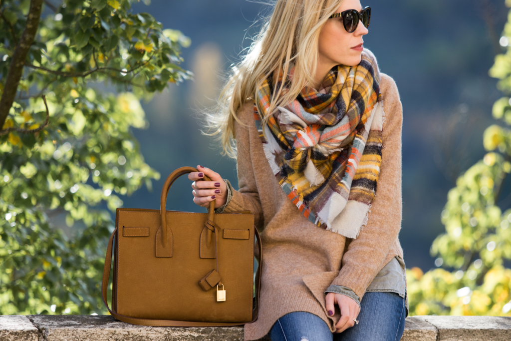 plaid-blanket-scarf-with-camel-sweater-outfit-how-to-tie-your-blanket-scarf-in-a-new-way-blanket-scarf-tutorial-saint-laurent-tan-suede-sac-de-jour