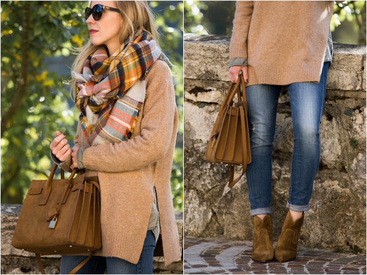 yellow-green-orange-plaid-blanket-scarf-outfit-idea-what-to-wear-with-a-blanket-scarf-blanket-scarf-with-skinny-jeans-and-booties-outfit