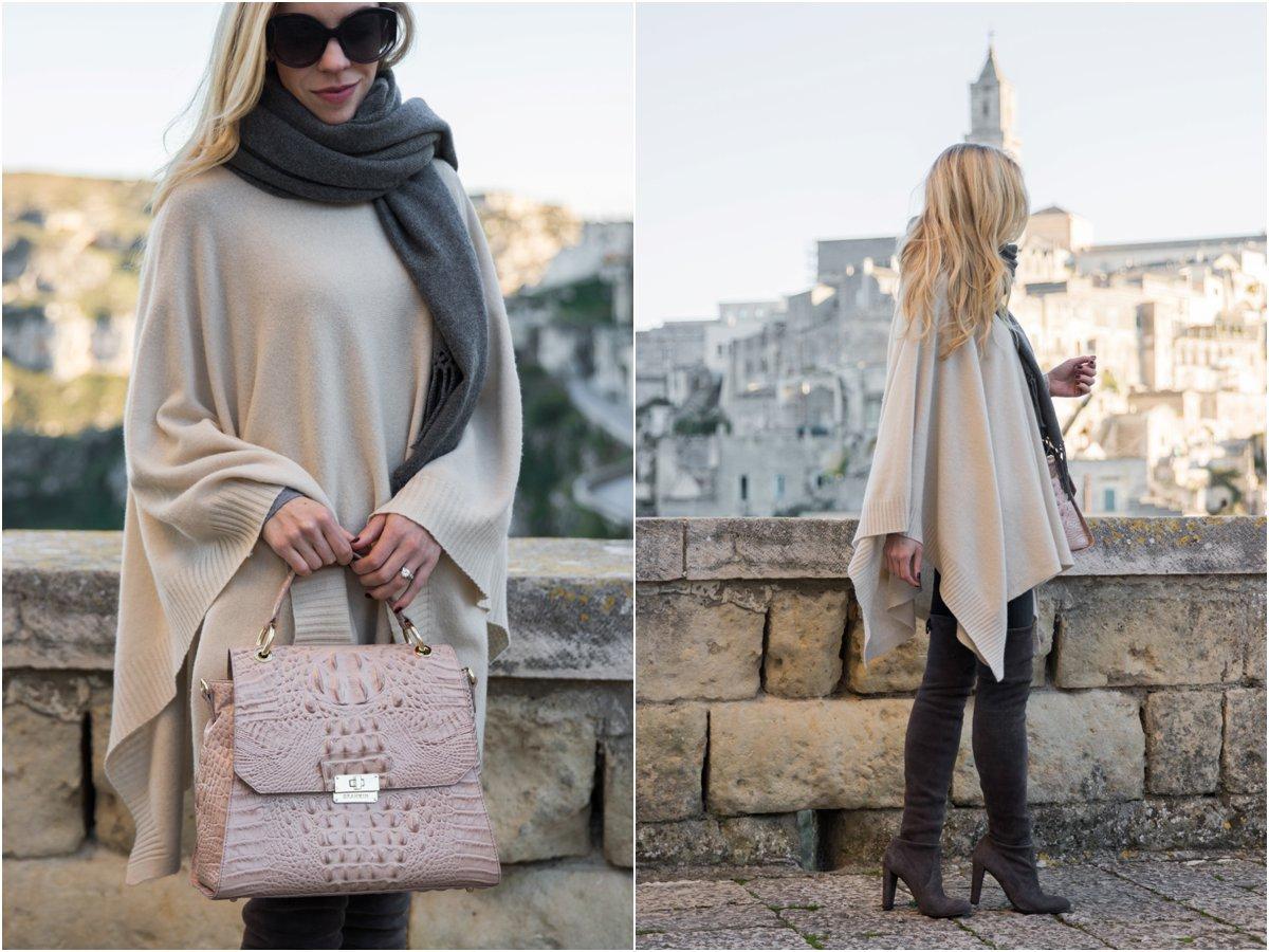 brahmin-brinley-satchel-silk-melbourne-beige-poncho-with-gray-oversized-scarf-stuart-weitzman-highland-boots-londra-gray-suede