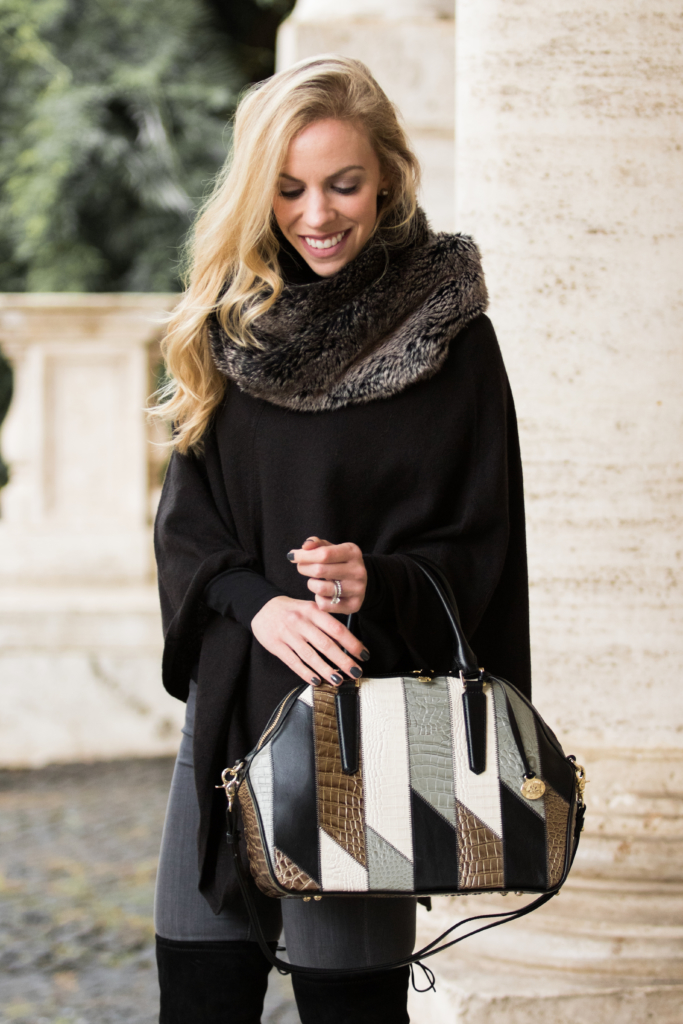 brahmin-hudson-satchel-silver-sage-caspian-black-cape-with-faux-fur-infinity-scarf-faux-fur-cape-outfit