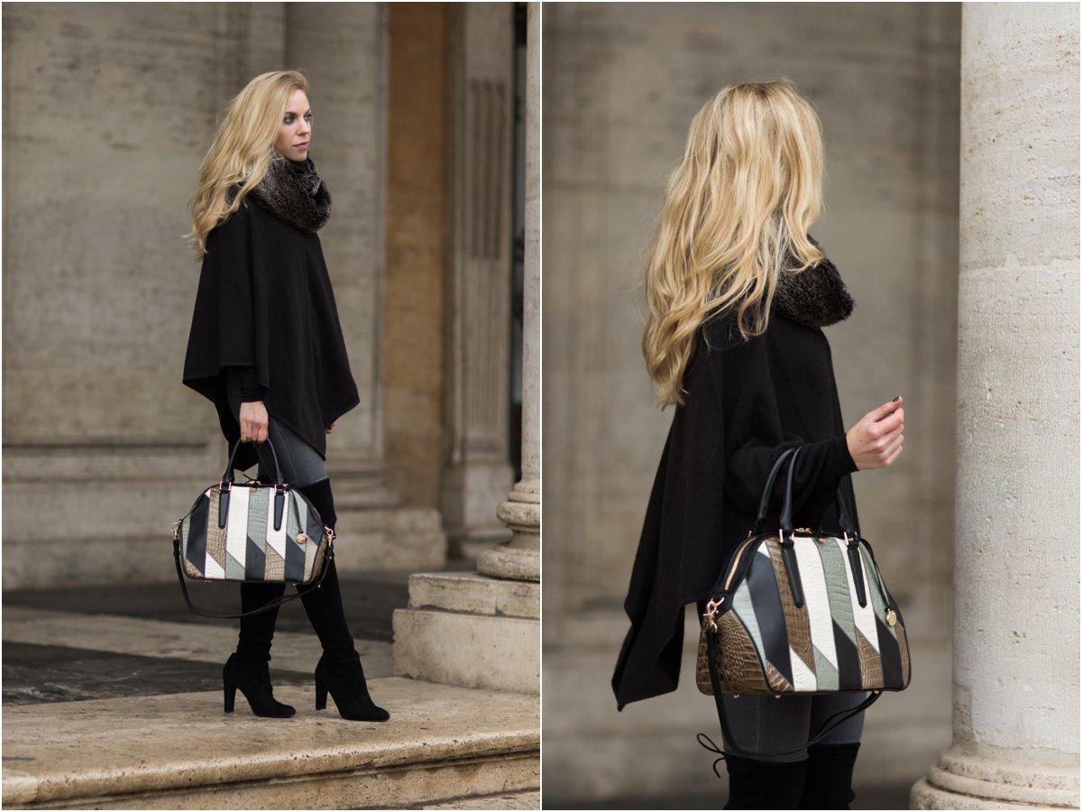 brahmin-hudson-satchel-silver-sage-caspian-black-cape-with-faux-fur-collar-and-over-the-knee-boots-holiday-outfit-with-faux-fur-scarf