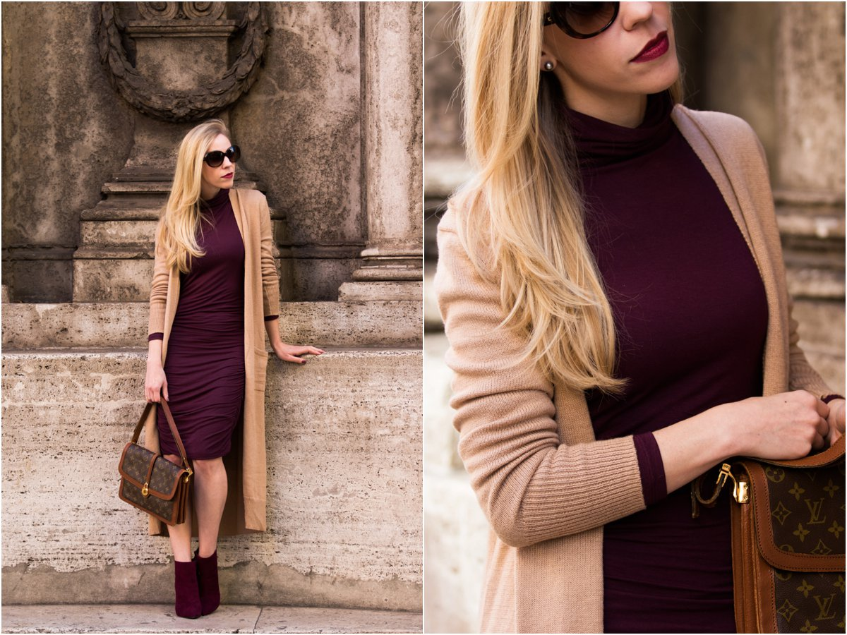 clinique-avant-garde-lipstick-old-navy-camel-maxi-cardigan-with-burgundy-dress-camel-and-burgundy-fall-outfit