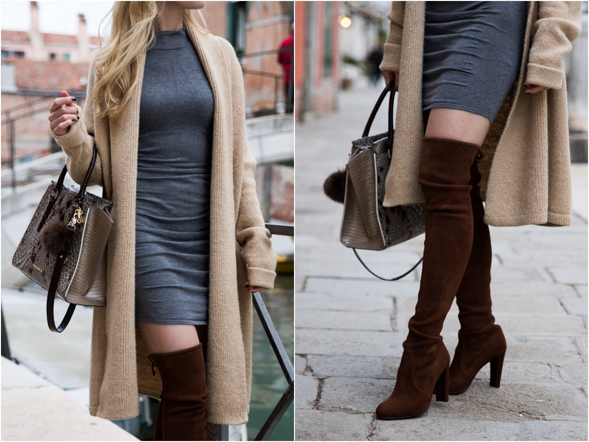 0cc1f1bf725 express-ruched-sweater-dress-with-oversized-cardigan-stuart-weitzman-walnut- suede-highland-over-the-knee-boots-oversized-cardigan-with-bodycon-dress -outfit