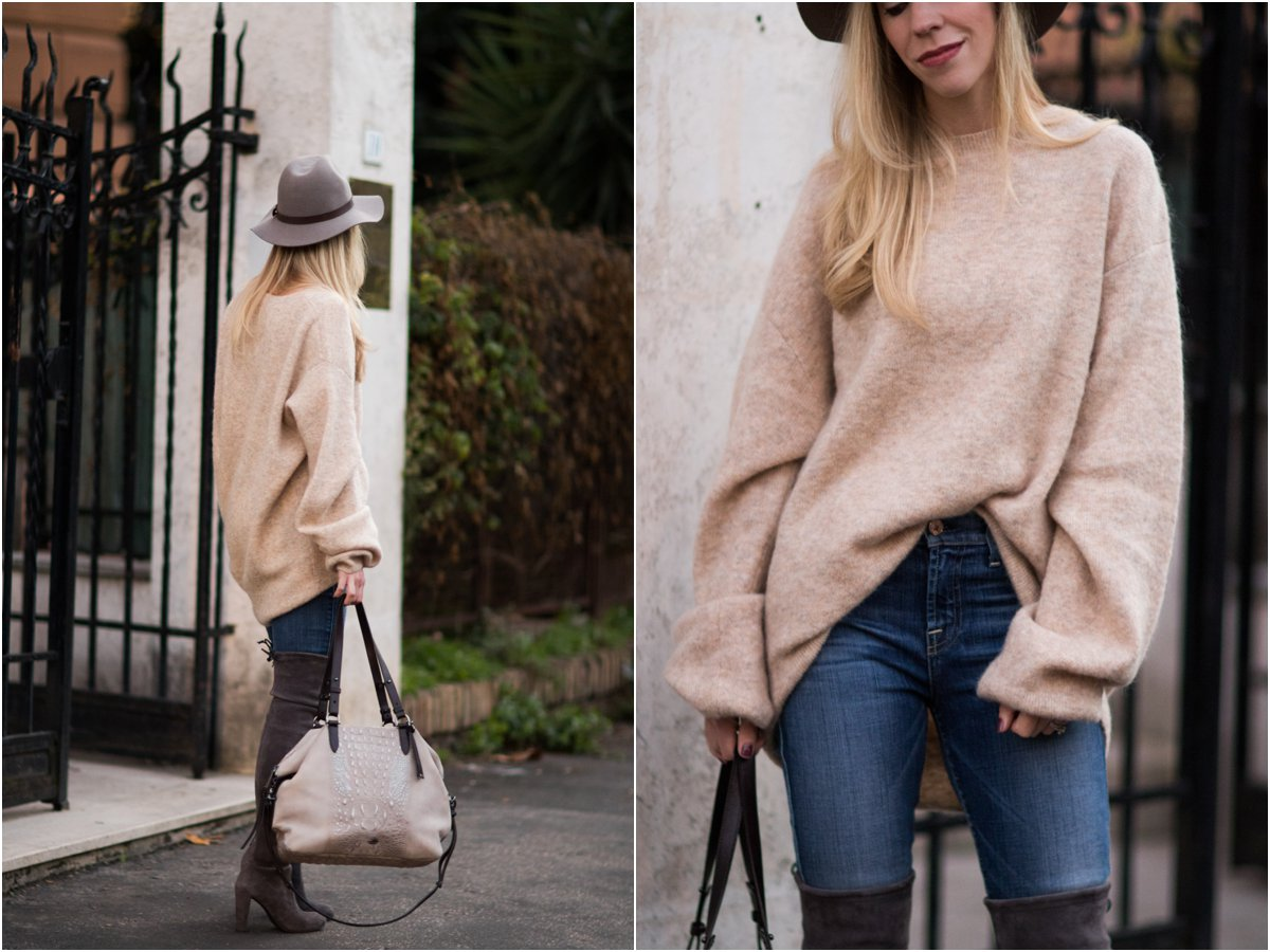 7cd70cfa3e hm-beige-oversized-mohair-sweater-oversized-sweater -with-skinny-jeans-and-over-the-knee-boots-fall-outfit
