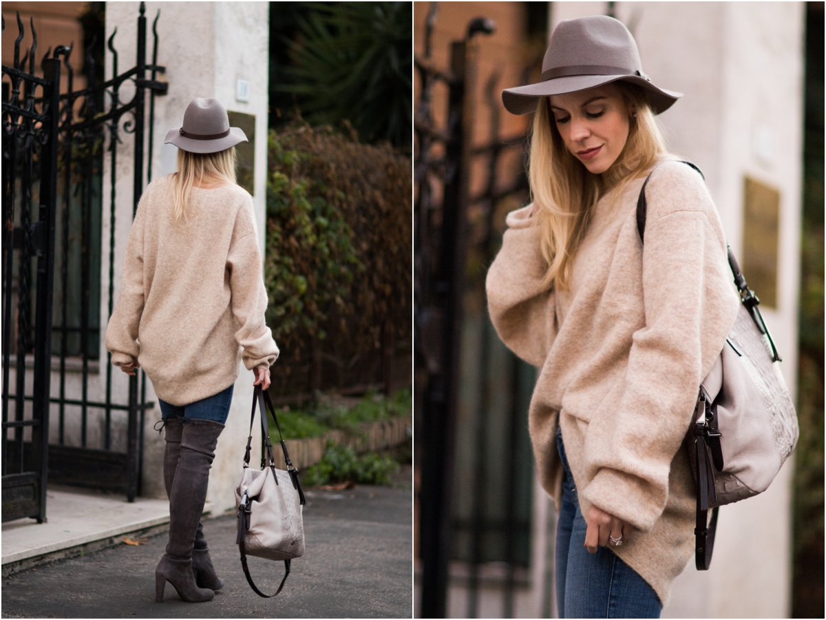 Oversized Sweater & Over-the-Knee Boots }