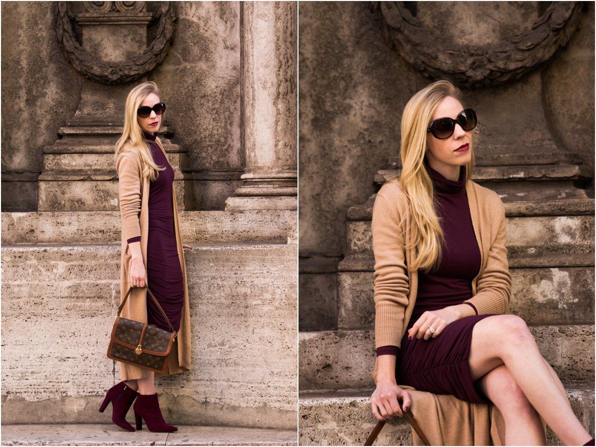 old-navy-camel-maxi-cardigan-burgundy-turtleneck-dress-burgundy-suede-booties-outfit-camel-and-burgundy-fall-outfit