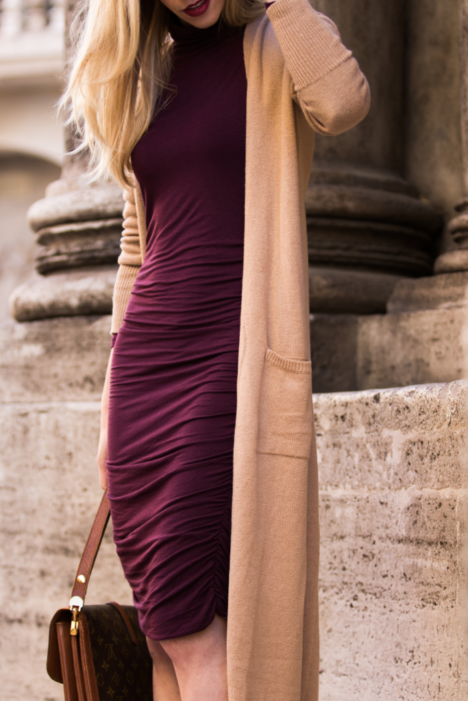old-navy-long-maxi-cardigan-burgundy-turtleneck-dress-with-camel-cardigan-bordeaux-and-camel-fall-outfit