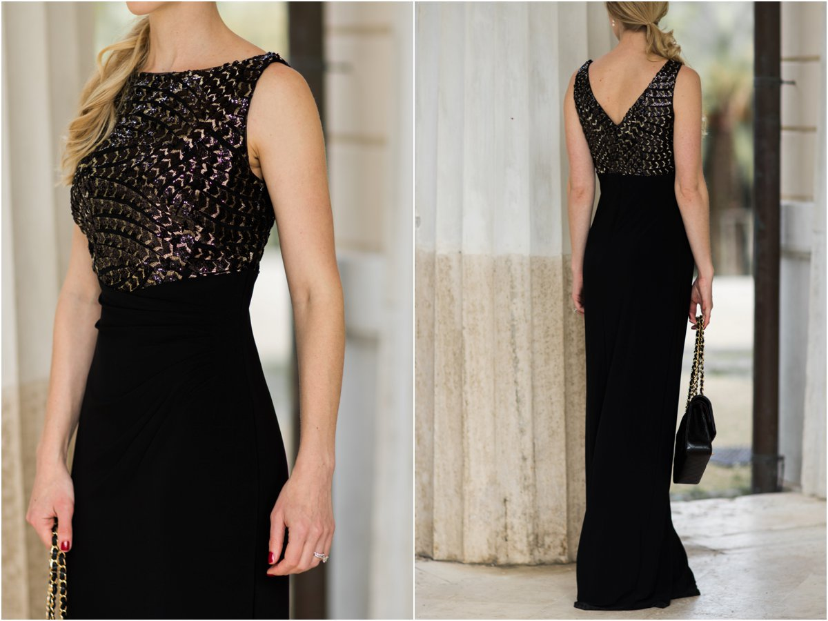 ralph-lauren-black-and-gold-boatneck-evening-gown-what-to-wear-to-a-holiday-party-black-and-gold-holiday-outfit