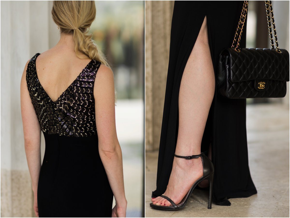 ralph-lauren-black-and-gold-evening-dress-stuart-weitzman-nudist-stiletto-sandals-chanel-medium-classic-flap-bag-holiday-outfit-with-black-and-gold-dress