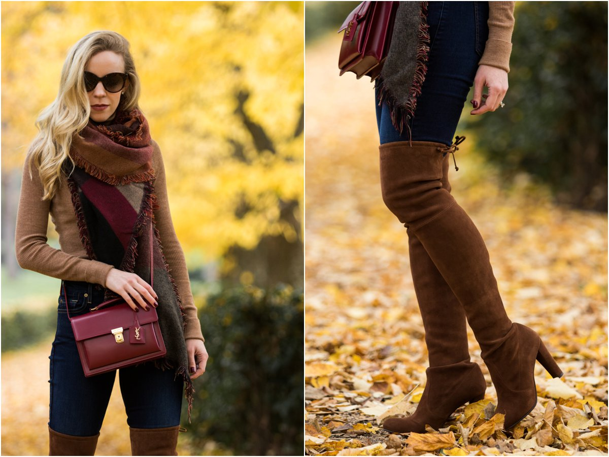 steve-madden-colorblock-blanket-scarf-saint-laurent-high-school-satchel-stuart-weitzman-walnut-suede-over-the-knee-highland-boots