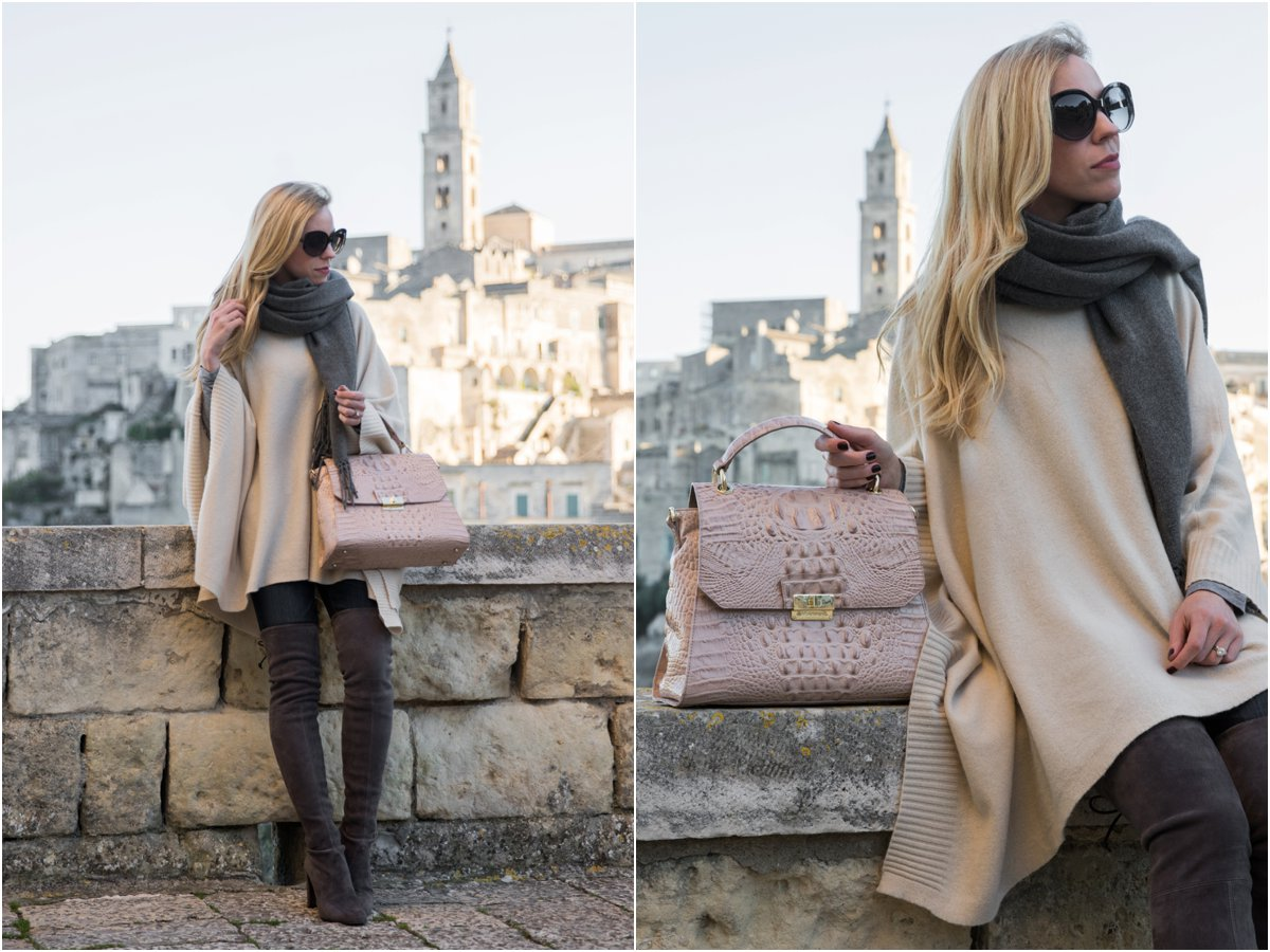 beige-poncho-with-gray-scarf-stuart-weitzman-over-the-knee-gray-boots-brahmin-brinley-satchel-matera-italy-travel-blogger