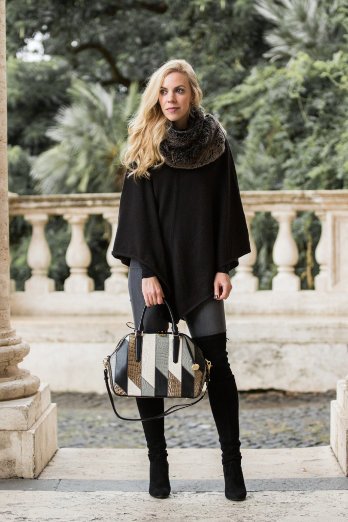 black-cape-with-faux-fur-infinity-scarf-over-the-knee-boots-with-cape-outfit-brahmin-holiday-collection-2016-brahmin-hudson-satchel