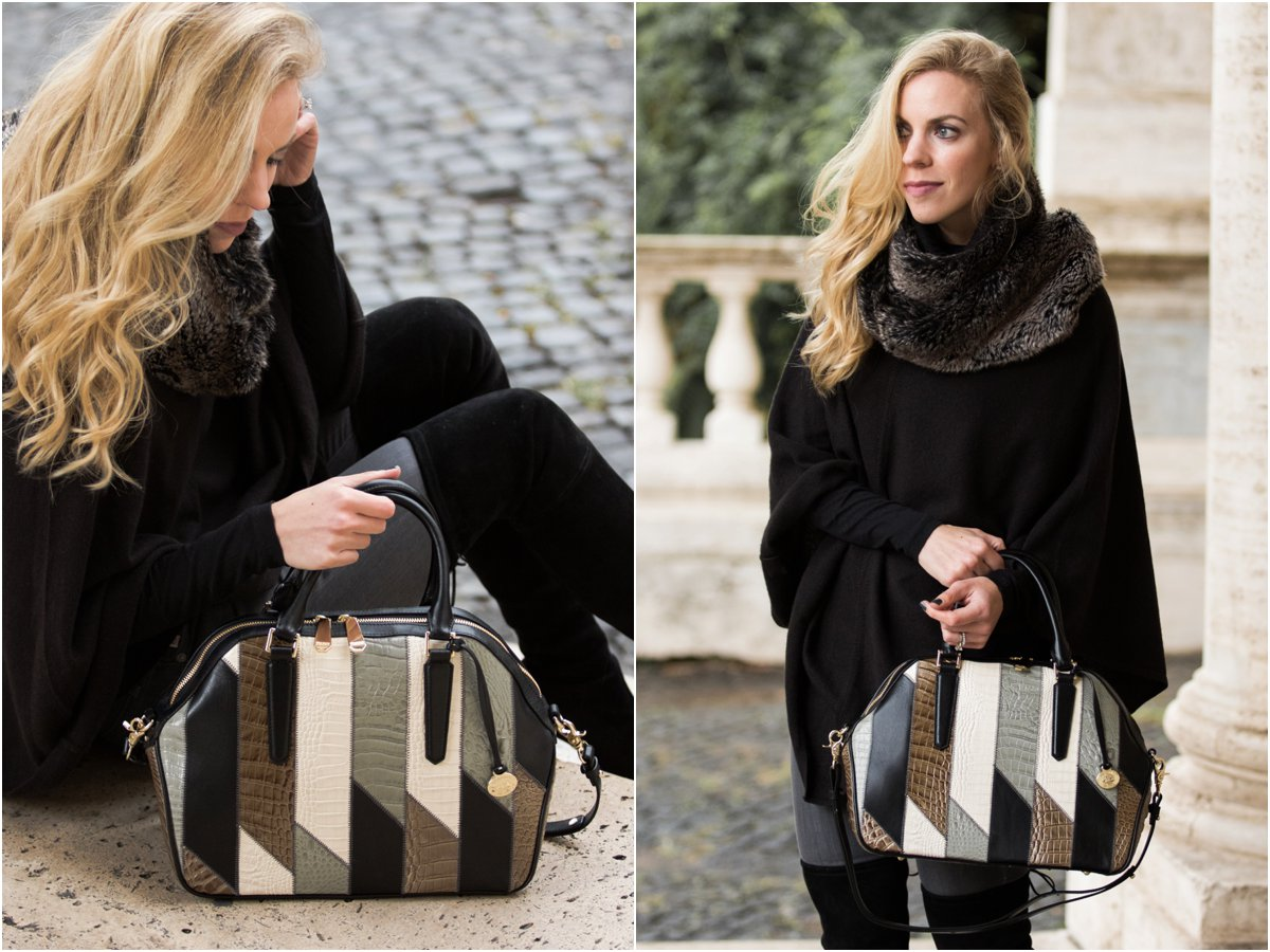 black-cashmere-cape-with-gray-faux-fur-infinity-scarf-how-to-wear-a-cape-with-faux-fur-collar-brahmin-hudson-satchel