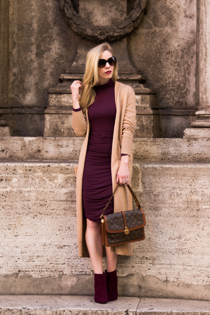 camel-cardigan-outfit-long-cardigan-with-dress-burgundy-dress-with-camel-cardigan-stuart-weitzman-hitimes-bordeaux-booties