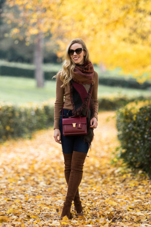 colorblock-blanket-scarf-with-brown-suede-over-the-knee-boots-stuart-weitzman-walnut-suede-highland-boots-cozy-fall-outfit-with-burgundy-blanket-scarf