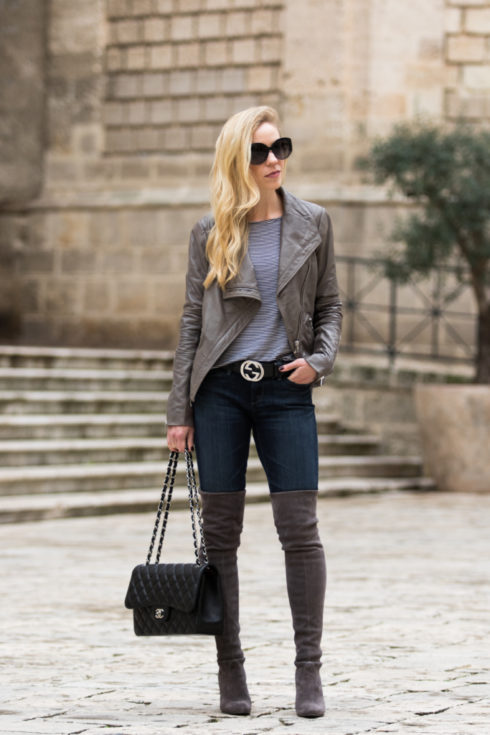 gray-leather-jacket-black-gucci-logo-belt-stuart-weitzman-highland-gray-over-the-knee-boots-gray-leather-jacket-outfit