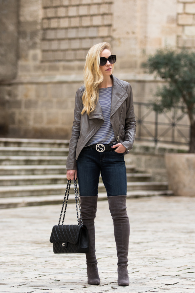 05576e40723 gray-leather-jacket-black-gucci -logo-belt-stuart-weitzman-highland-gray-over-the-knee-boots-gray-leather- jacket-outfit