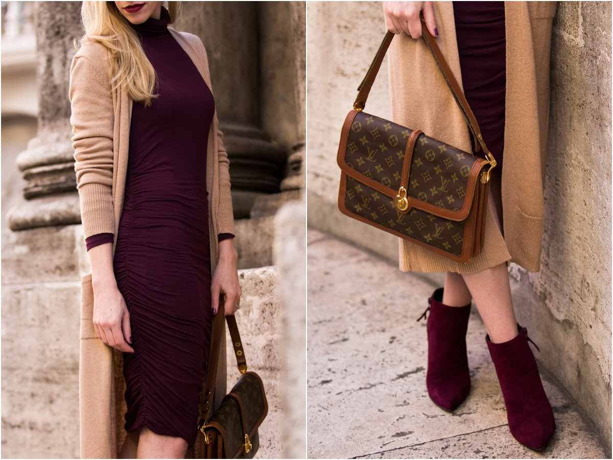 long-camel-cardigan-burgundy-turtleneck-dress-louis-vuitton-vintage-passy-bag-stuart-weitzman-hitimes-bordeaux-suede-booties