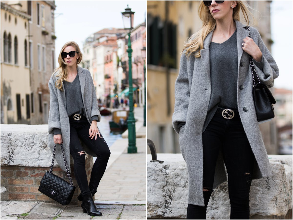 oversized-gray-wool-coat-with-black-jeans-and-gucci-belt-chanel-jumbo-classic-flap-bag-black-caviar-with-silver-hardware