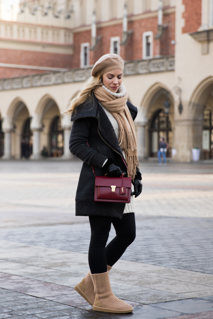 bergans-gray-wool-coat-camel-cashmere-scarf-saint-laurent-red-high-school-satchel-ugg-knit-boots-how-to-be-stylish-in-winter