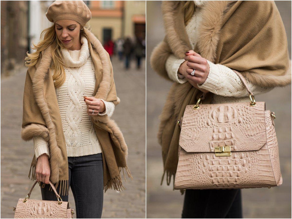 brahmin-brinley-satchel-silk-melbourne-ann-taylor-cable-sweater-camel-cashmere-beret-max-mara-fur-trim-camel-wrap