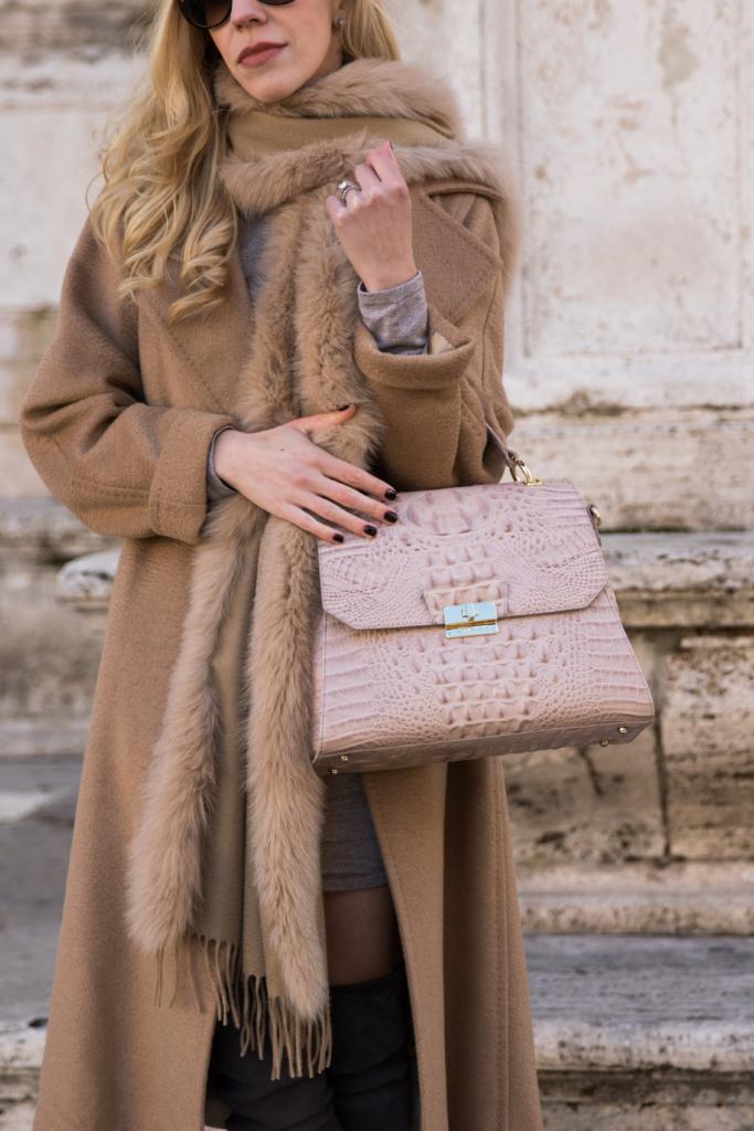 brahmin-brinley-satchel-silk-melbourne-max-mara-camel-coat-max-mara-fox-fur-wrap-scarf-pink-and-camel-outfit