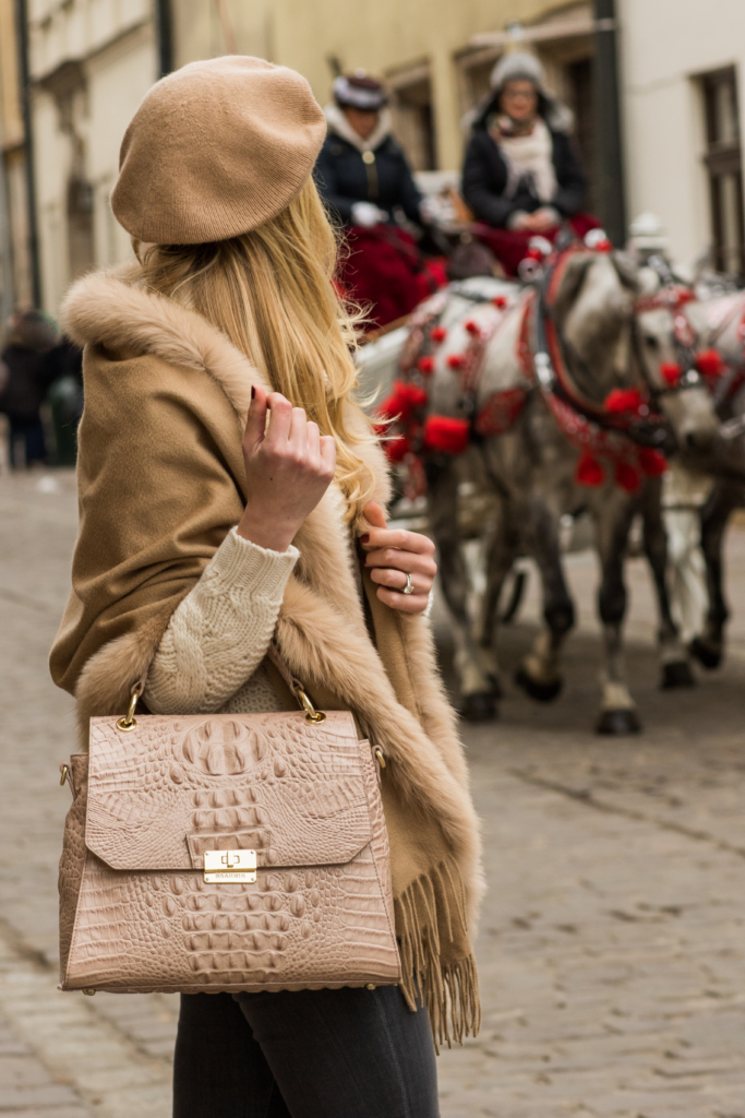 brahmin-brinley-satchel-silk-melbourne-max-mara-fur-trim-camel-wrap-camel-beret-how-to-wear-a-beret-christmas-in-krakow-poland