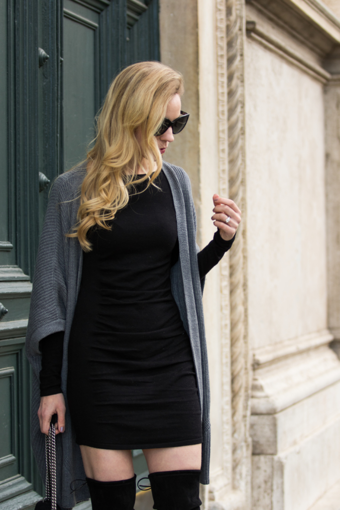 express-ruched-sweater-dress-with-oversized-cardigan-how-to-wear-a-bodycon-sweater-dress-with-cardigan