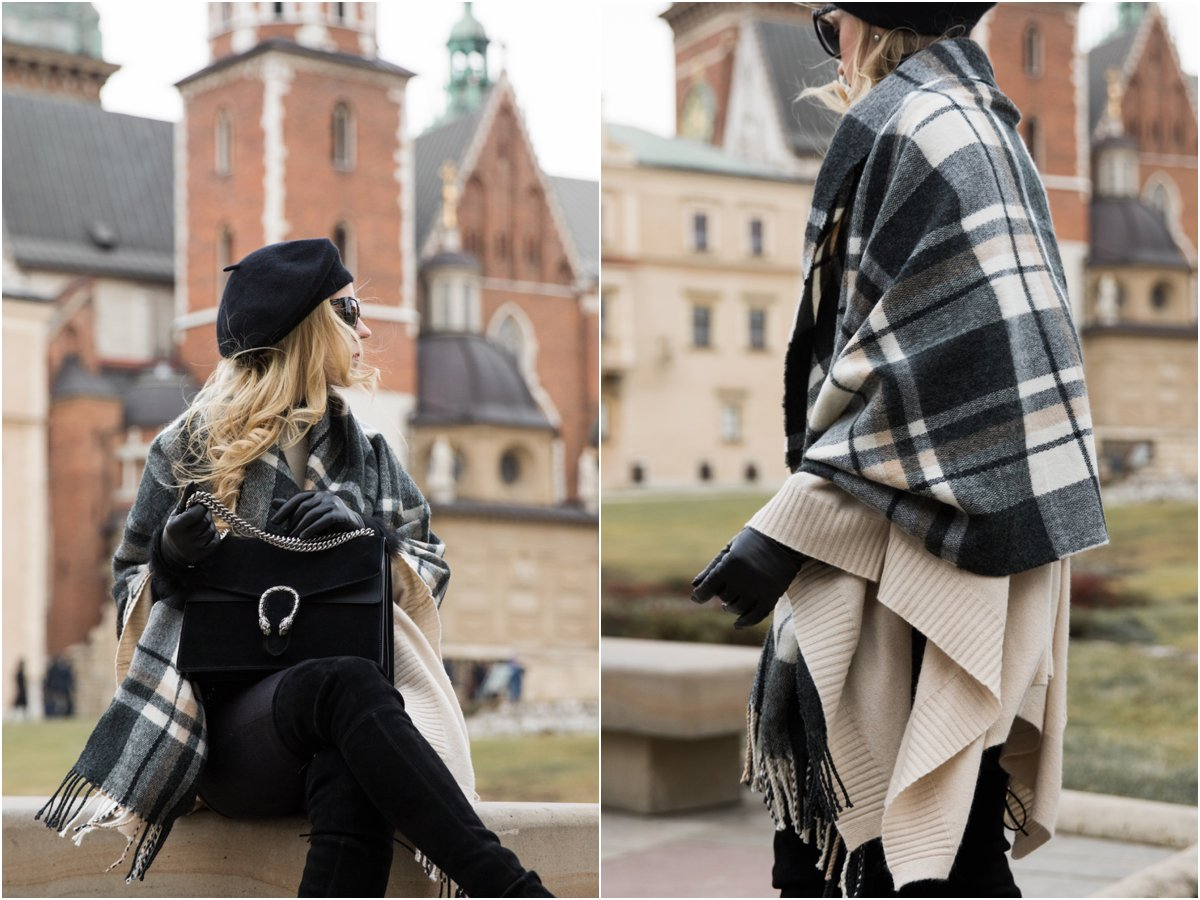 gucci-dionysus-bag-black-suede-fashion-blogger-krakow-poland-plaid-blanket-scarf-worn-as-a-wrap-black-and-white-plaid-scarf-outfit