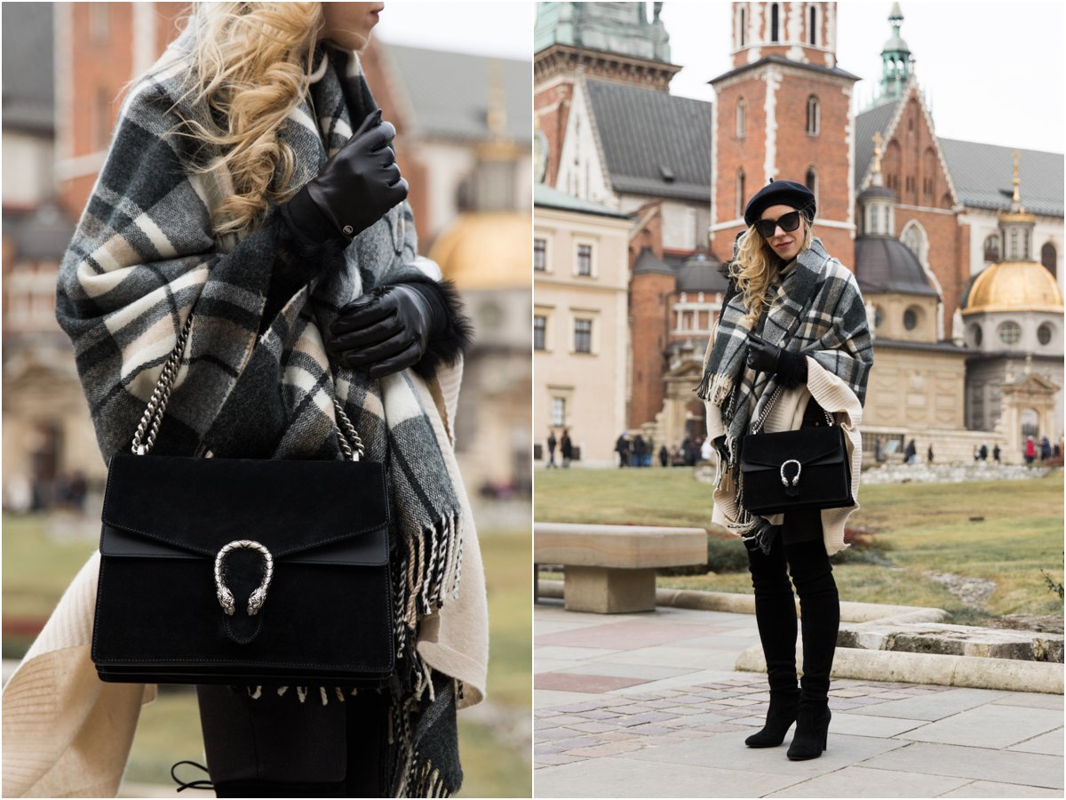 gucci-black-suede-dionysus-bag-ugg-fur-cuff-gloves-black-and-white-plaid-scarf-worn-as-a-wrap-how-to-wear-a-blanket-scarf-and-look-chic