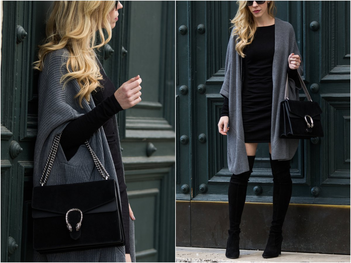 gucci-black-suede-dionysus-bag-gray-kimono-cardigan-over-bodycon-dress-with-over-the-knee-boots-how-to-wear-bodycon-dress-with-cardigan