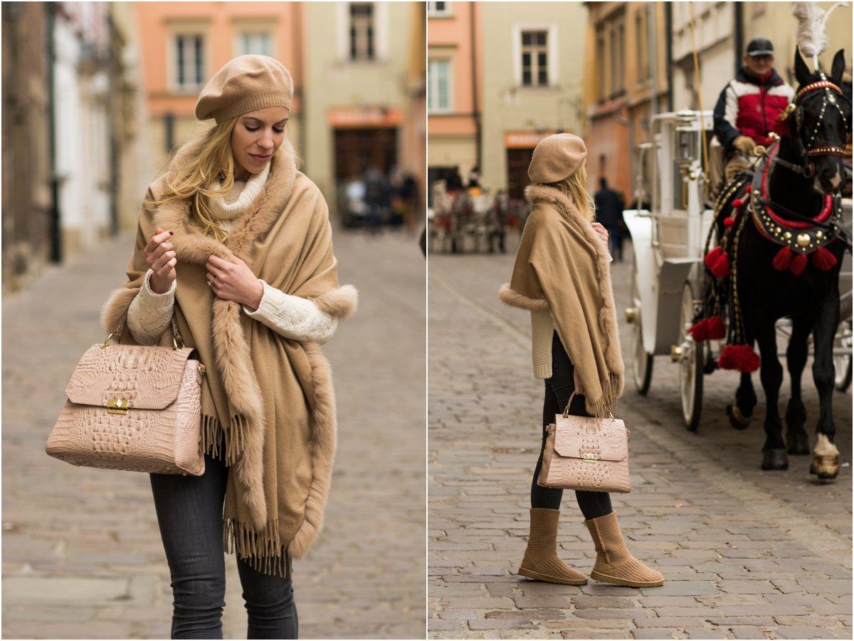 max-mar-fur-trim-wrap-camel-cashmere-beret-brahmin-brinley-satchel-christmas-in-krakow-poland